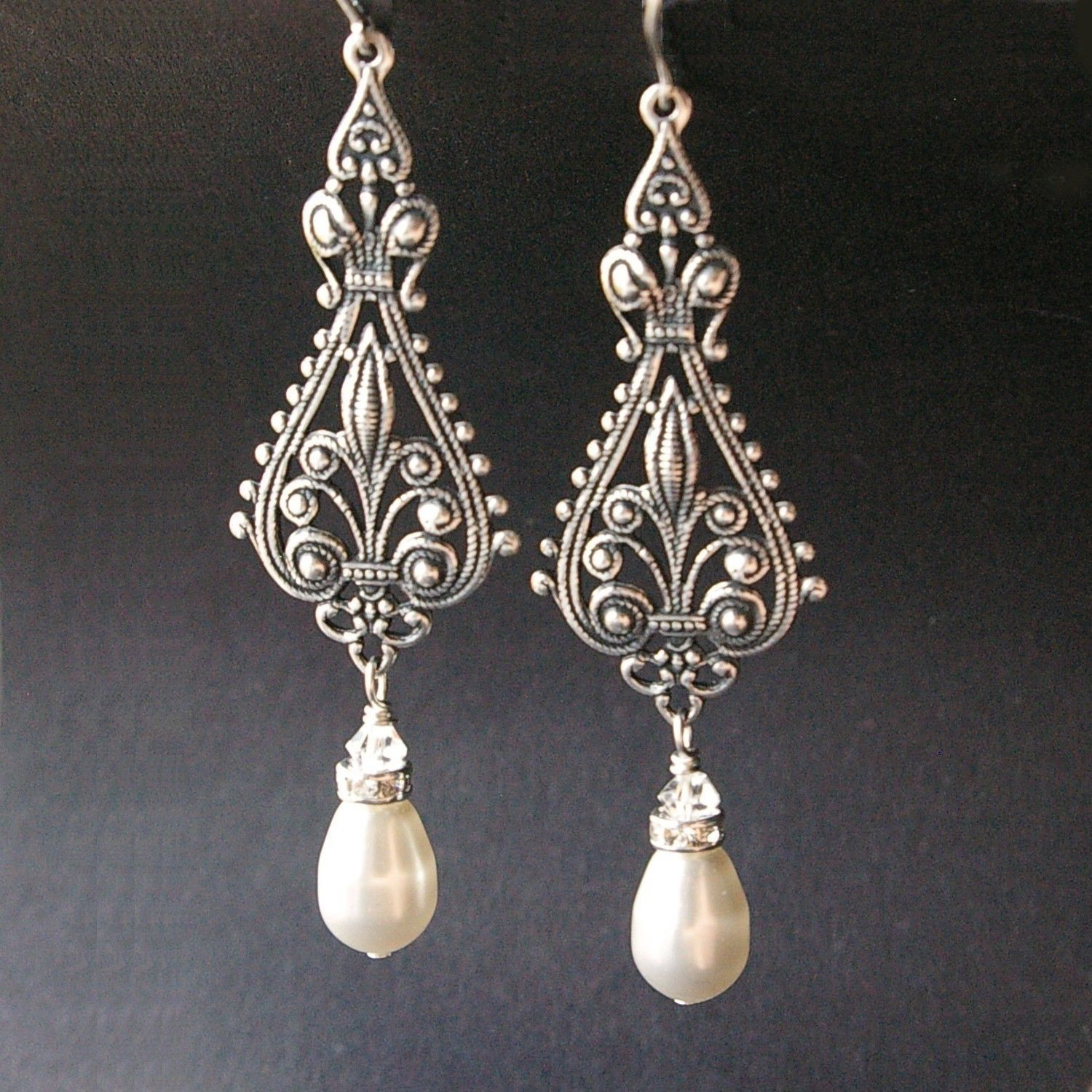 silver earrings product filigree