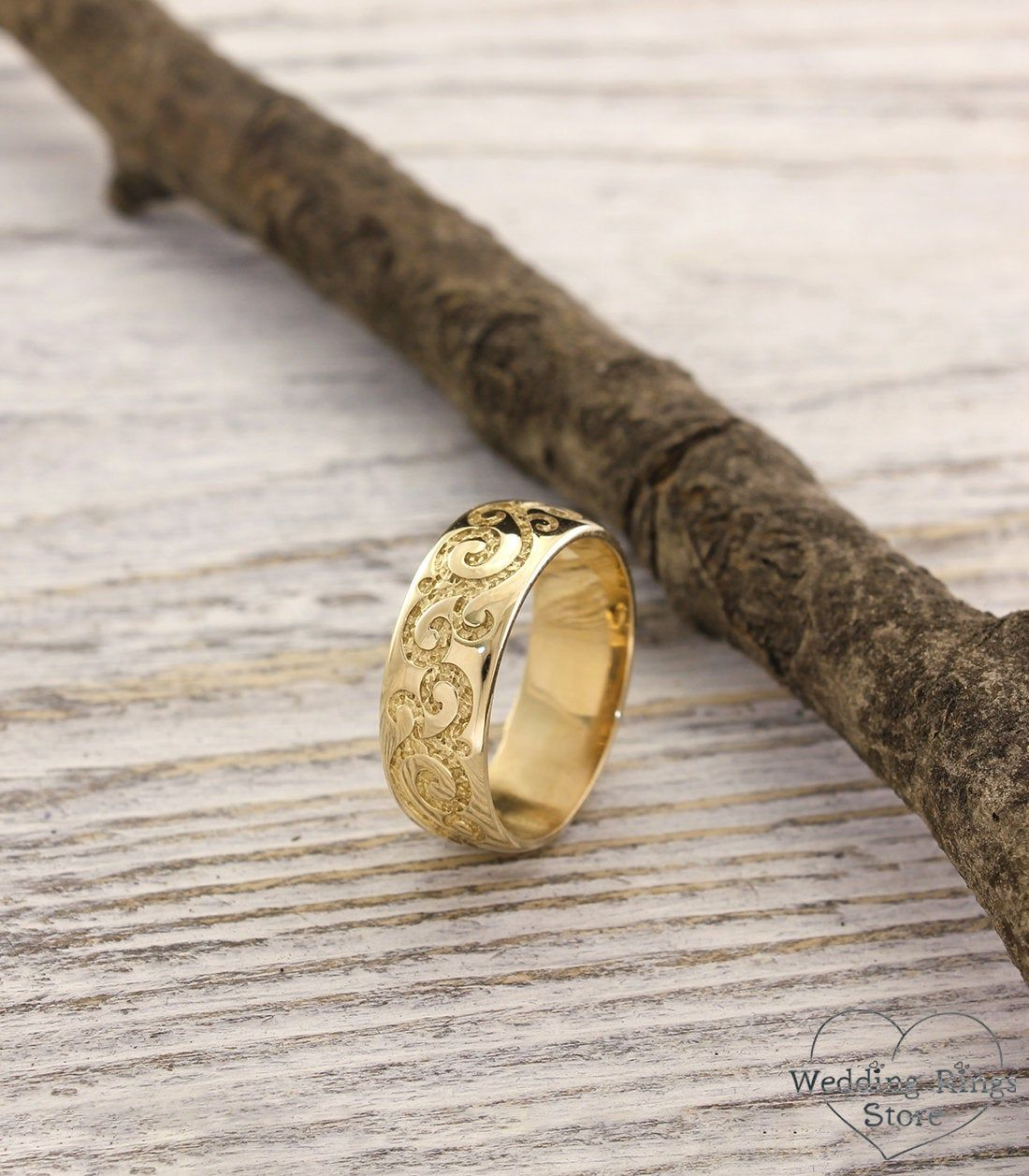 Unique wedding band in vintage style, 7mm unusual wedding band, Wide wedding ring, 14k solid yellow gold band, Vine wedding band