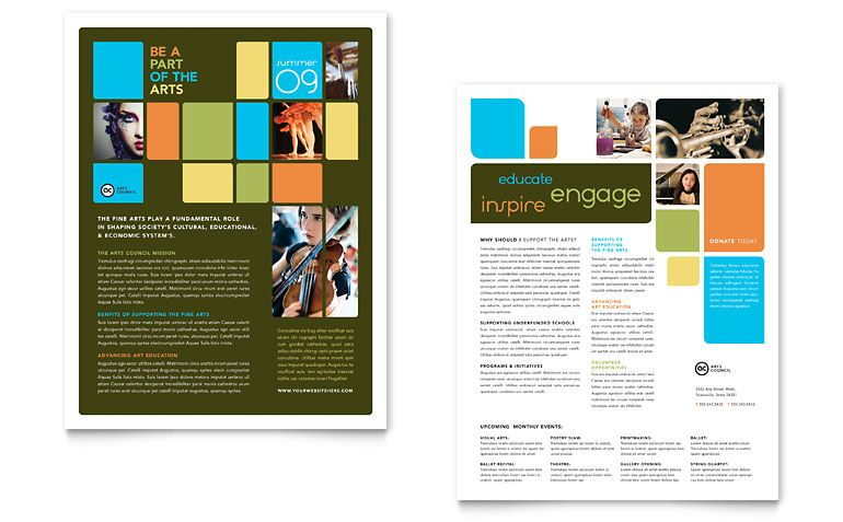 Elegant Arts Council U0026 Education Datasheet Template Design  Free Brochure Design Templates Word