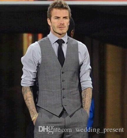 6be796f9f3fe Custom Made 2015 Mens Wedding Vest Hot Sale Good Design Grey Groom  Groomsmen Vest Casual Slim Men's Vest ( Vest+Tie)