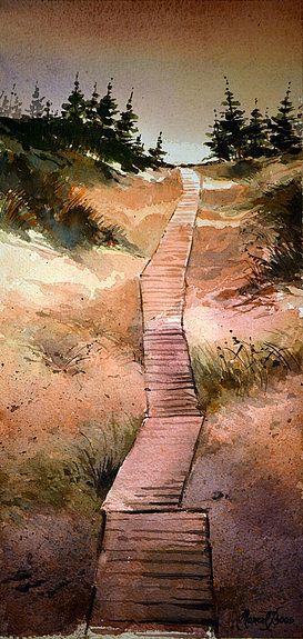 Chemin En Traverse De Bois Sous La Neige En Hiver Paysage Aquarelle Art Paysagiste Chemins