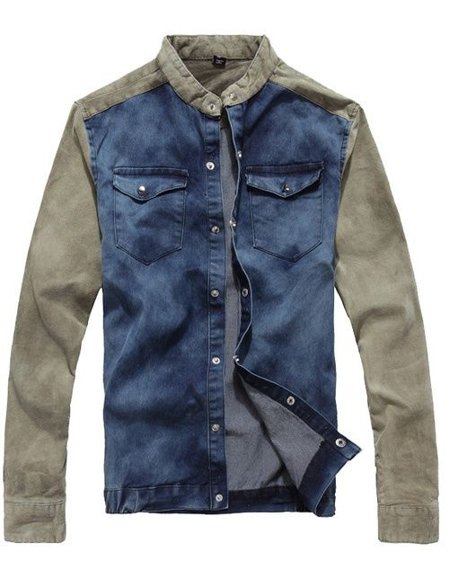95cba59bf4 Mens Denim Jacket Color Jointing Single Breasted Double Pockets Denim Long  Sleeve Men Jacket Discount Online Shopping
