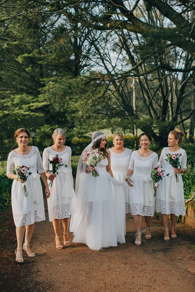 Bride & Ivory Lace Bridesmaids - A Super Stylish DIY Wedding Even the Rain Couldn't Ruin from John Benavente Photography