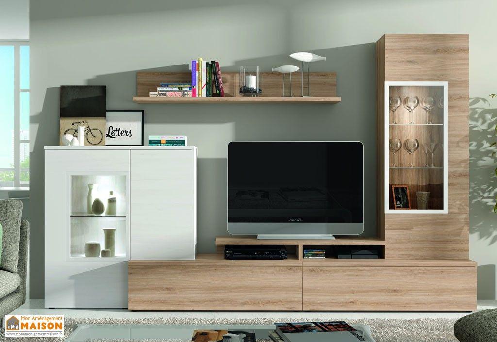 Ensemble meuble tv mural dublin 2 coloris salon sejour notre maison meuble tv meuble tv for Ensemble meuble salon sejour