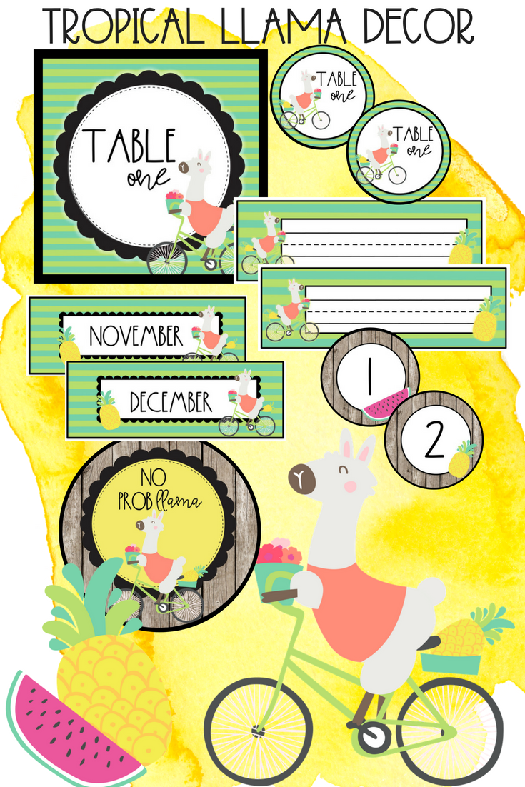 new school yearnew theme i love the little tropical llamas and bright colorsand i hope you do too