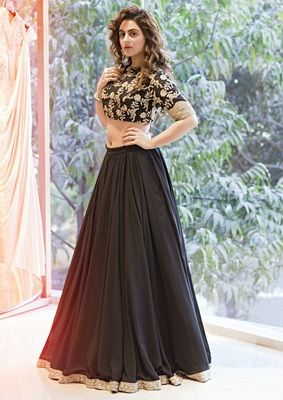 2a24435f1b Black Synthetic lehenga with dupatta at Mirraw | Black Lehengas in ...