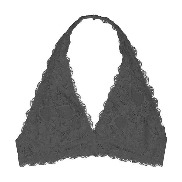 77640fb536 Youmita Black Floral Lace Halter Bralette ( 11) ❤ liked on Polyvore  featuring intimates