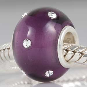 Solid 925 Sterling Silver Cloudy Glass Charm Bead
