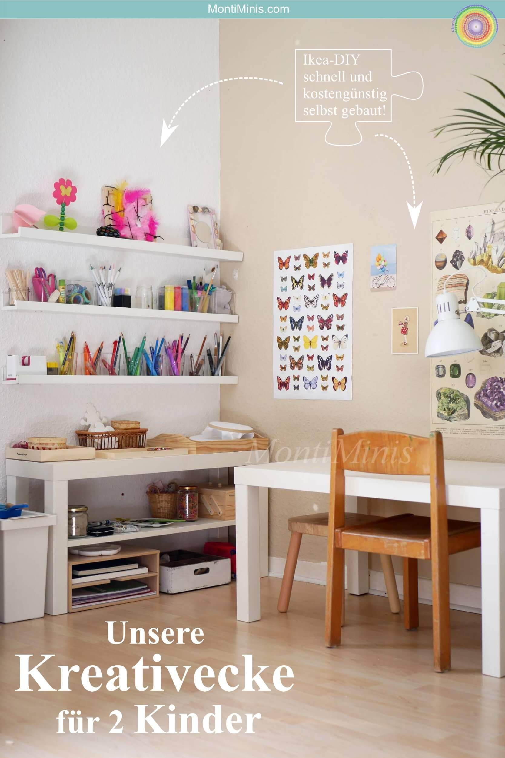 Unsere Kreativecke Fur 2 Kinder Warum Der Weg Das Ziel Ist Und Wieso Wir Unsere Kinder Nicht Loben Montessori Blog Shop Montiminis Kinder Zimmer Kinderzimmer Kinder Zimmer Ideen