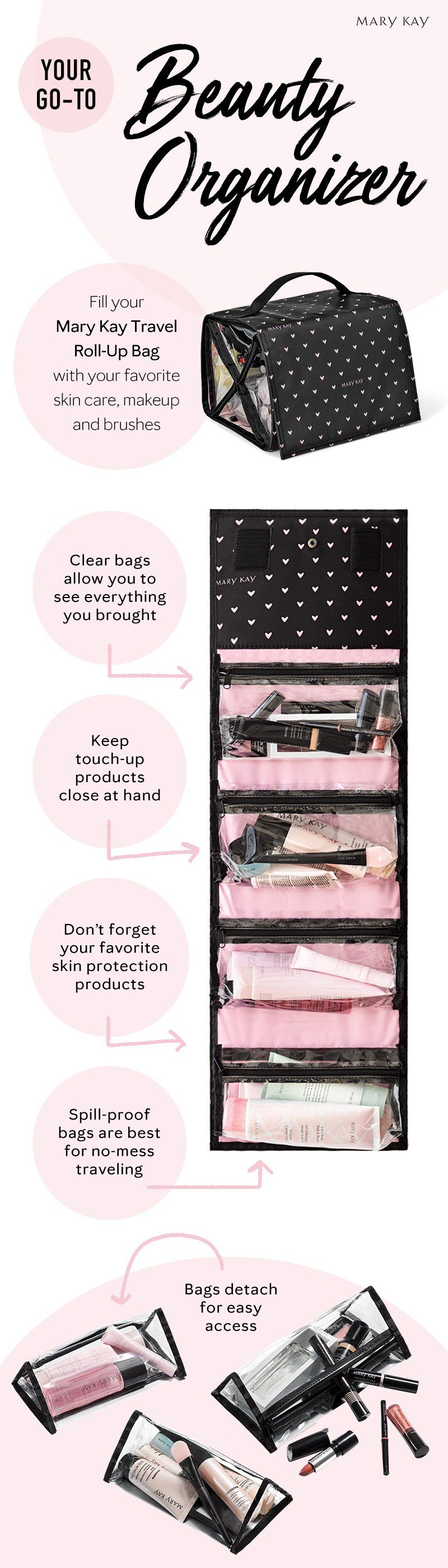 Beauty on the go! This must-have portable bag is just what you need to easily organize your favorite makeup and beauty essentials. | Mary Kay