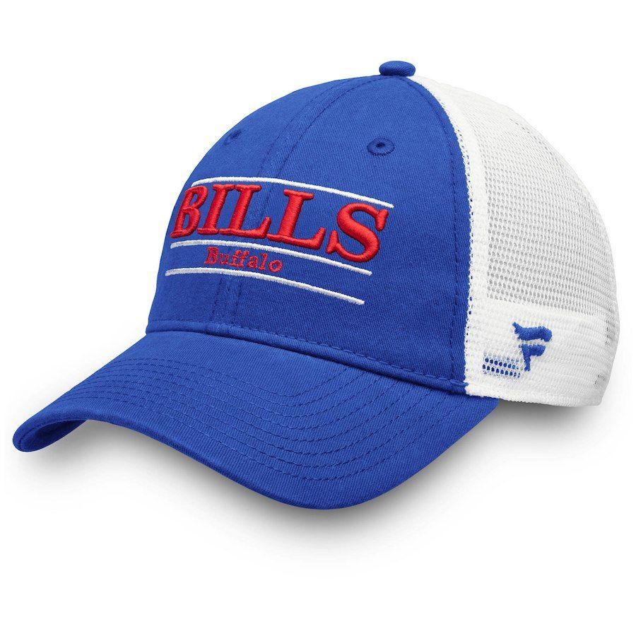 37a93094f31b2 Men s Buffalo Bills NFL Pro Line by Fanatics Branded Royal White Primary Bar  Trucker Adjustable Hat