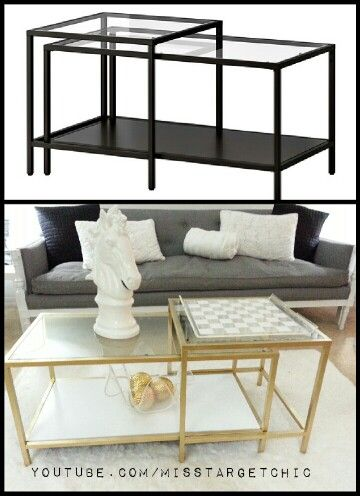 Hollywood Regency IKEA Vittsjo Nesting Table Hack Using Rustoleum Metallic Gold And High Gloss