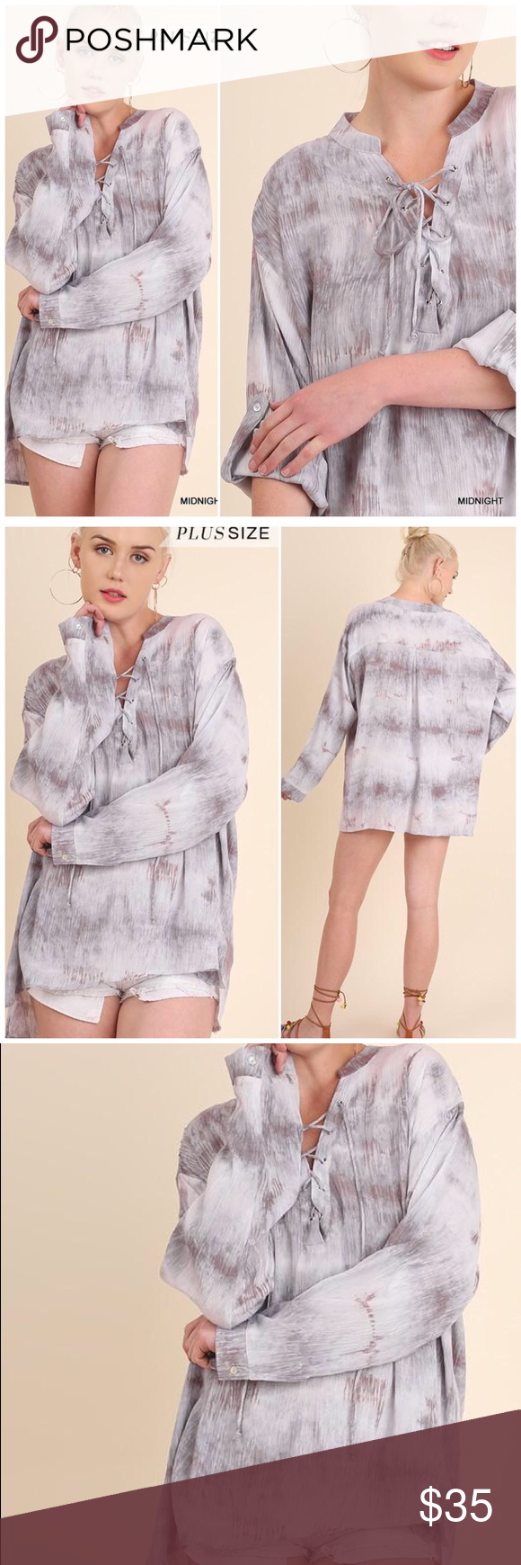 Closing saleplus tie dye drawstring tunic top boutique in