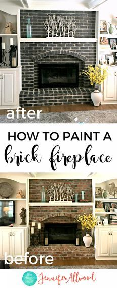 How to Paint a Black Brick Fireplace | Jennifer Allwood | Fireplace Makeover | Painting Brick | Living Room Ideas | Decorating Ideas | Mantel Ideas