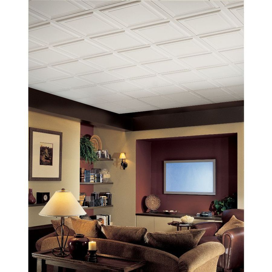 Armstrong 6 Pack Single Raised Homestyle Ceiling Tile Panels Common 24 In X Actual 23 735 At Lowes