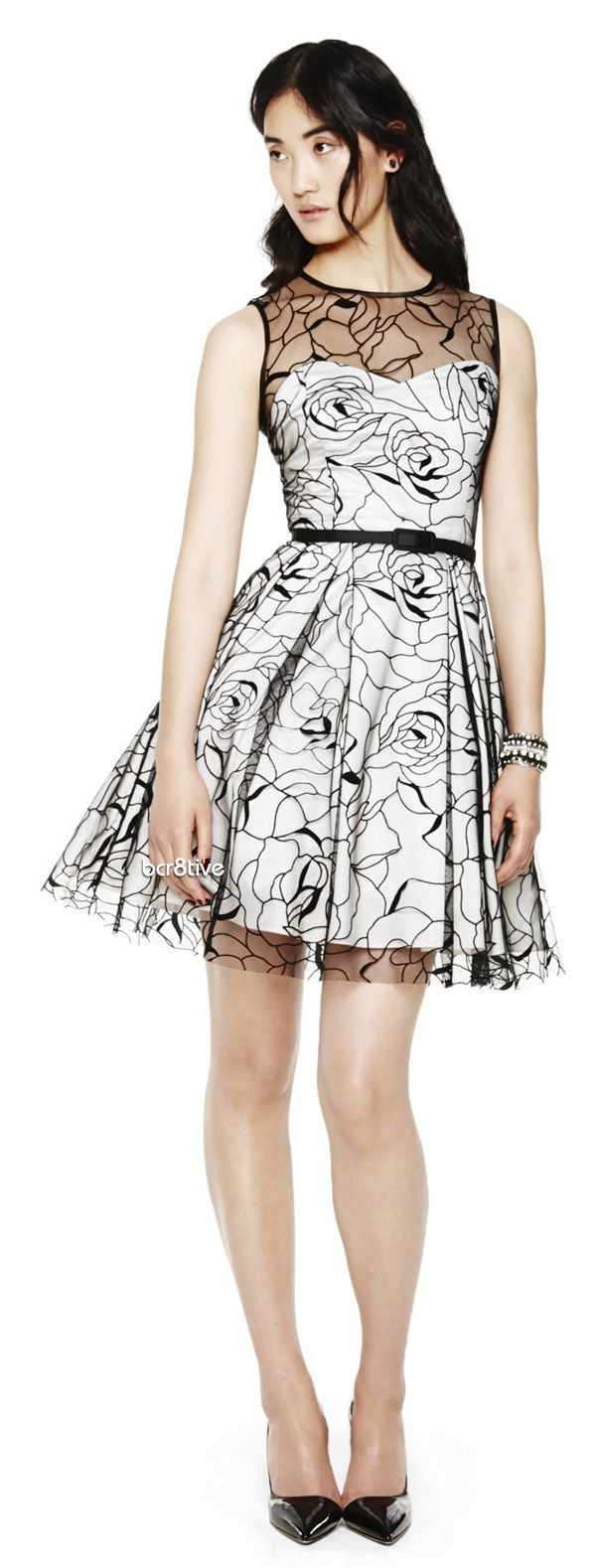 Eliza j floral embroidered mesh overlay fit u flare dress really