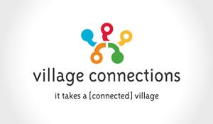 Community logo and brand design using bold colour and movement to create a village and community feel