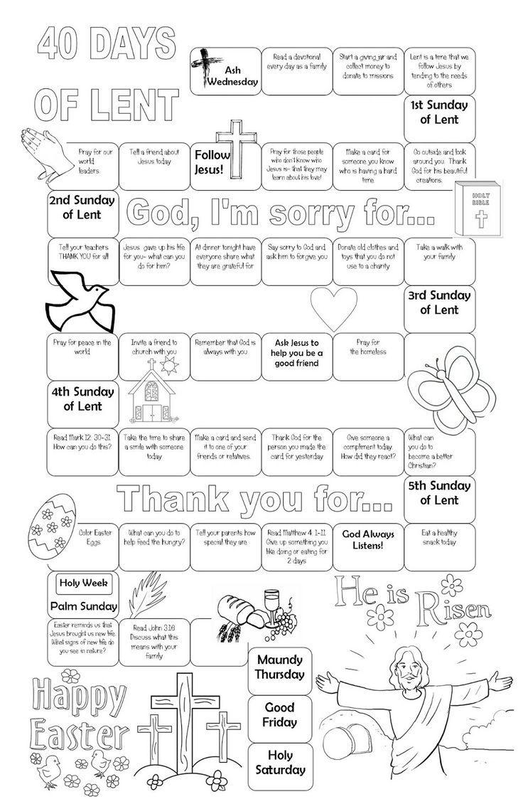 Lenten calendar. Free printable. Kids can color. Stick on your ...
