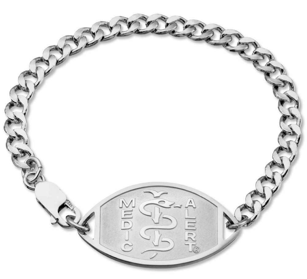 "Rhodium Coated Sterling Silver Medical ID Bracelet. Premium quality design by MedicAlert® ""Penicillin Allergy"". The original MedicAlert® medical ID with free year of MedicAlert Essential included. Rhodium coating provides a durable, hard and attractive finish that helps prevent tarnishing and is resistant to scratching. Bracelet is personally engraved to communicate your Penicillin Allergy. Only MedicAlert® medical IDs are connected to our live 24/7 Emergency Response center. MedicAlert®..."