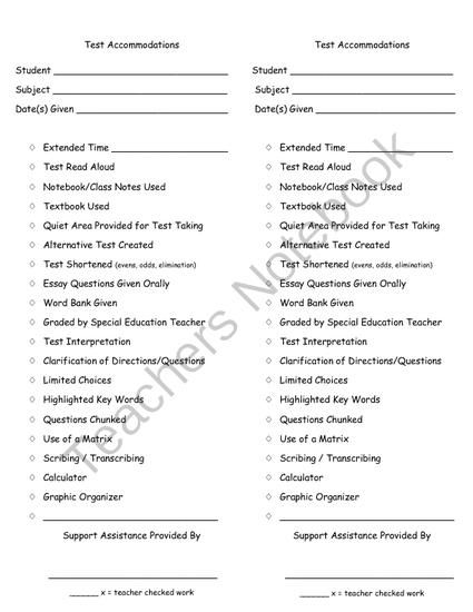 Collaborative Teaching Checklist ~ Special ed test taking accommodations checklist from