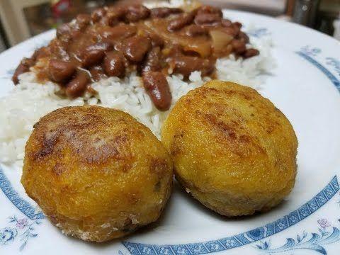 Bolitas De Plátano Rellenas Con Carne Molida Youtube Torta De Platano Maduro Comida Latina Carne Molida