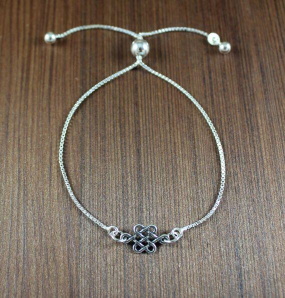 Sterling Silver Celtic Knot  Adjustable bracelet  by KLFStudio