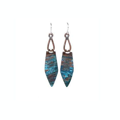 Copper Swing Earrings.  Copper earrings etched with a linear pattern and given a verdigris patina.