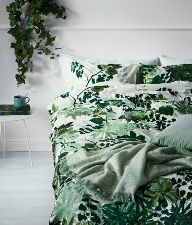 White X2f Green King X2f Queen Duvet Cover Set In Cotton Fabric With A Printed Leaf Pattern Home Decor Online Inexpensive Home Decor Cheap Living Room Sets