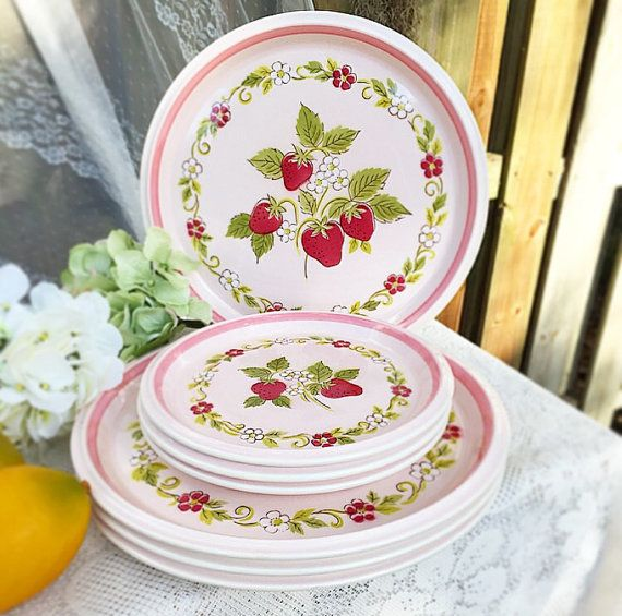 Modern Kitchen Plates: Mid Century Mikasa Pink Strawberry Dinnerware Plate Set