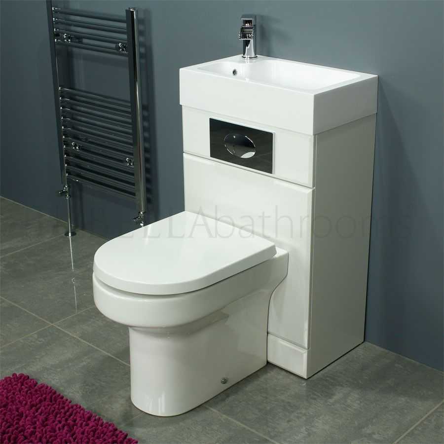 Cassellie Futra Gloss White Space Saving Toilet with Sink on Top ...