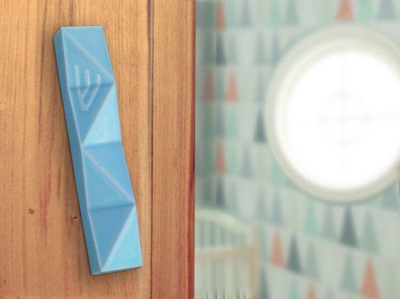 Light blue Mezuzah case for kids Ceramic Jewish gift for newborn Modern Judaica for nursery room - Fits 7cm scroll