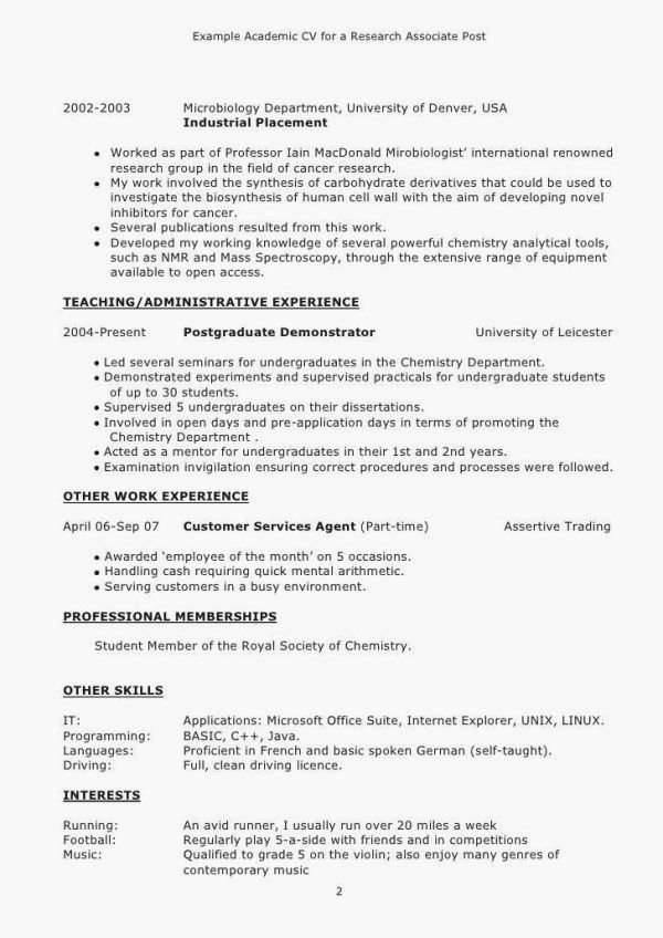 Cv Examples For Retail Jobs Uk Luxury Collection Lovely How To Write A Good Cv Example New Cover Resume Template Resume Examples Academic Cv Cv Examples