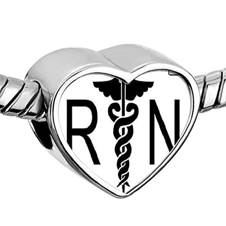Nurse Nursing RN Registered Caduceus Bead Charm Heart Bead