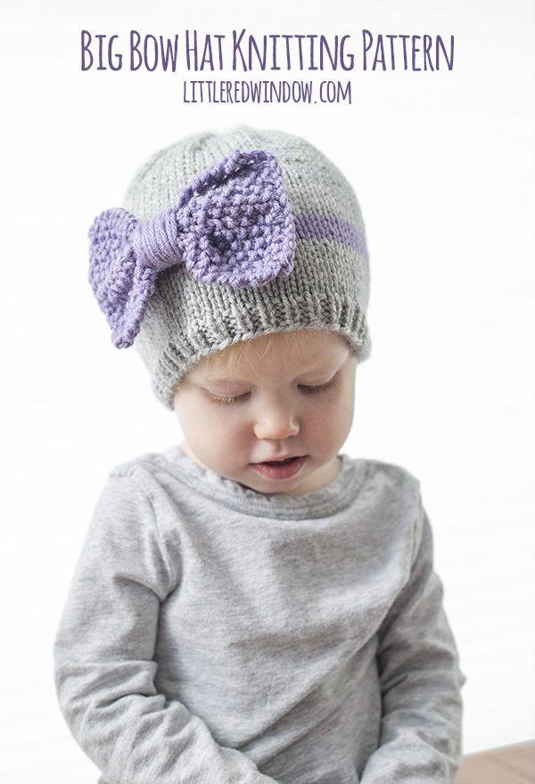 Big Bow Hat Knitting Pattern | Ganchillo para bebés, Para bebés y Gorros