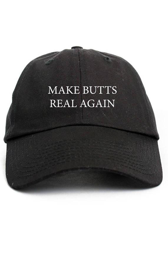 Make Butts Real Again Dad Hat Adjustable Baseball Cap New - Black ... 5b62ced30164