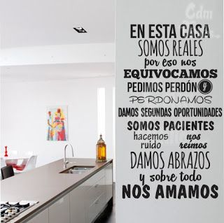 Vinilo decorativo pared frase en esta casa vinilos for Vinilos decorativos casa