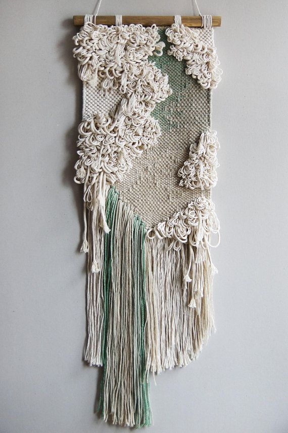 Woven wall hanging   Green tapestry   Natural colors decor   Boho ...