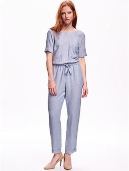 Chambray Striped Jumpsuit Old Navy Work It Pinterest