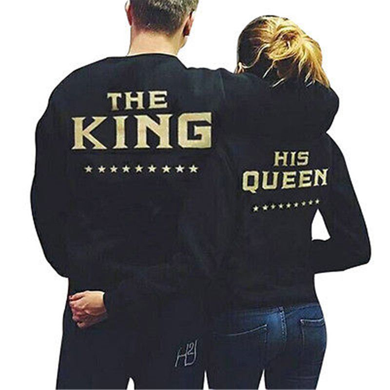 c2ac4de3b6 Autumn Winter Warm woman Man Romantic Couple Hoodie Sweatshirt The King and His  Queen-Love Matching Shirts Couple Tee Pull over