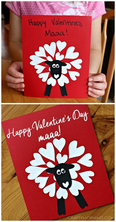 Heart shape sheep valentine cardcraft for kids to make that says