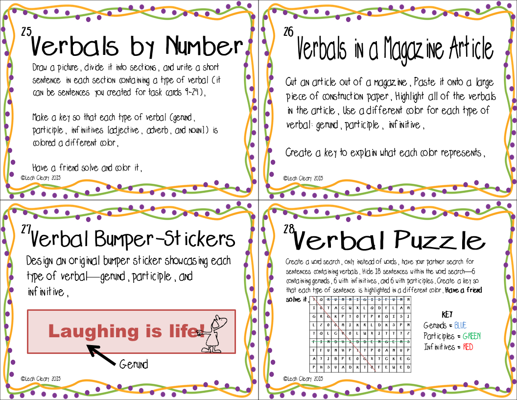 Tricky Verbals Task Cards And Interactive Notebook