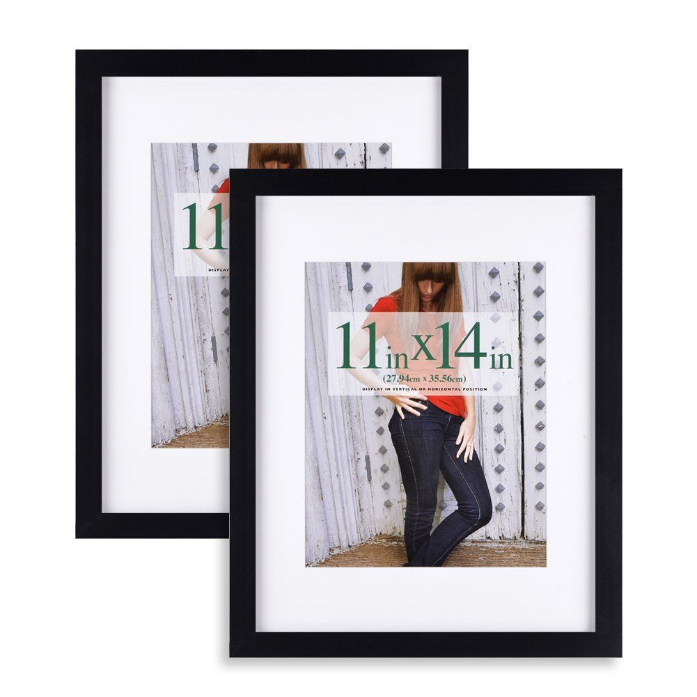 11x14 Inch Picture Frame 2pk Made Of Solid Wood And High Definition Glass Display Pictures 8x10 With Mat Or 11x14 Without Picture Display Frame Picture Frames