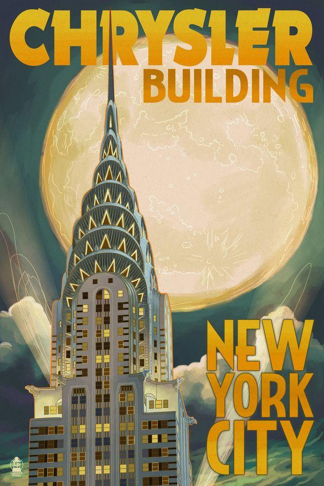 Print (New York City, New York - Chrysler Building & Full Moon ...