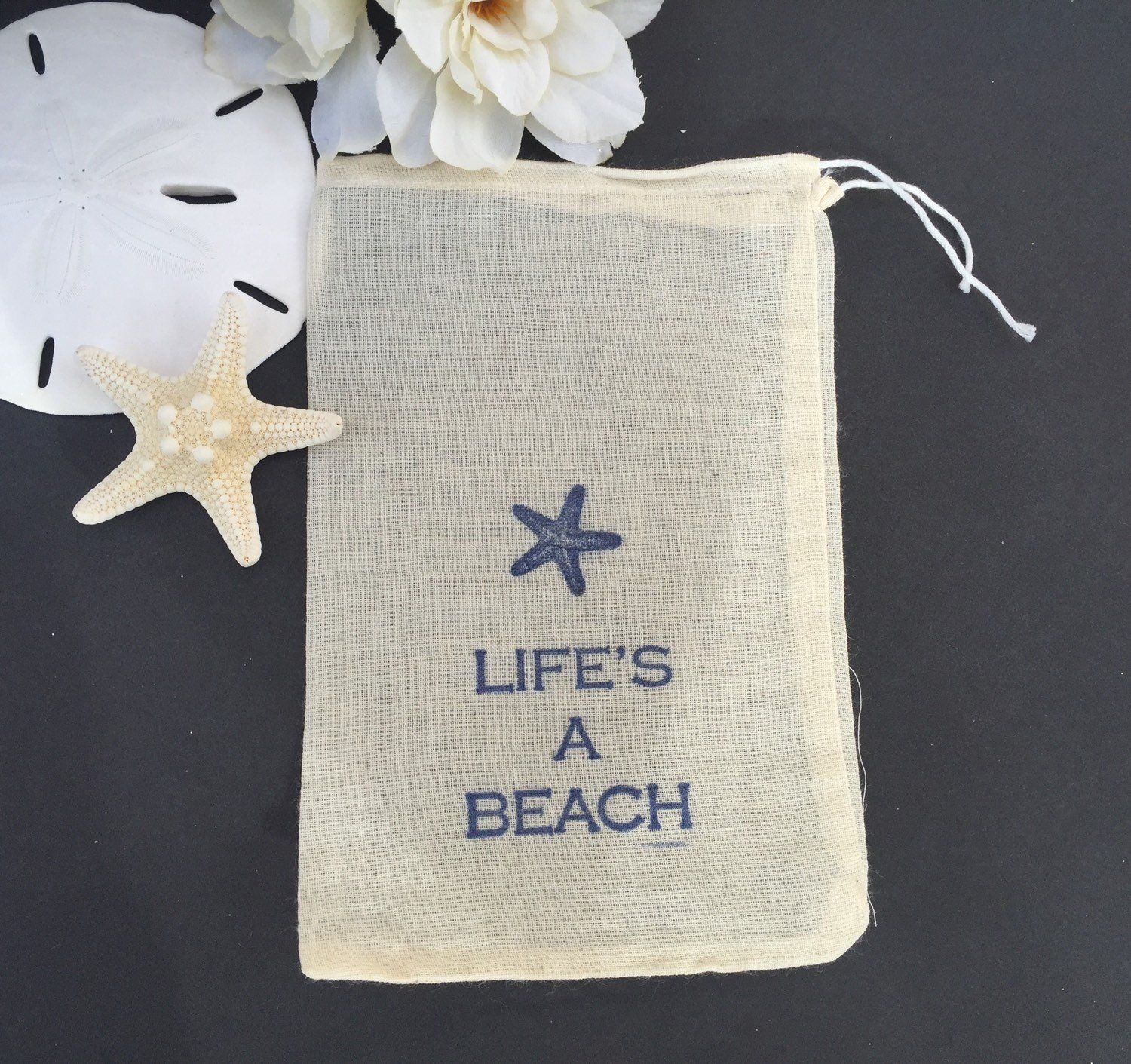10 beach themed cotton favor bags, beach wedding favors, life\'s a ...