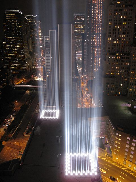 Respect City And Apartments - Two beams light new yorks skyline beautiful tribute 911