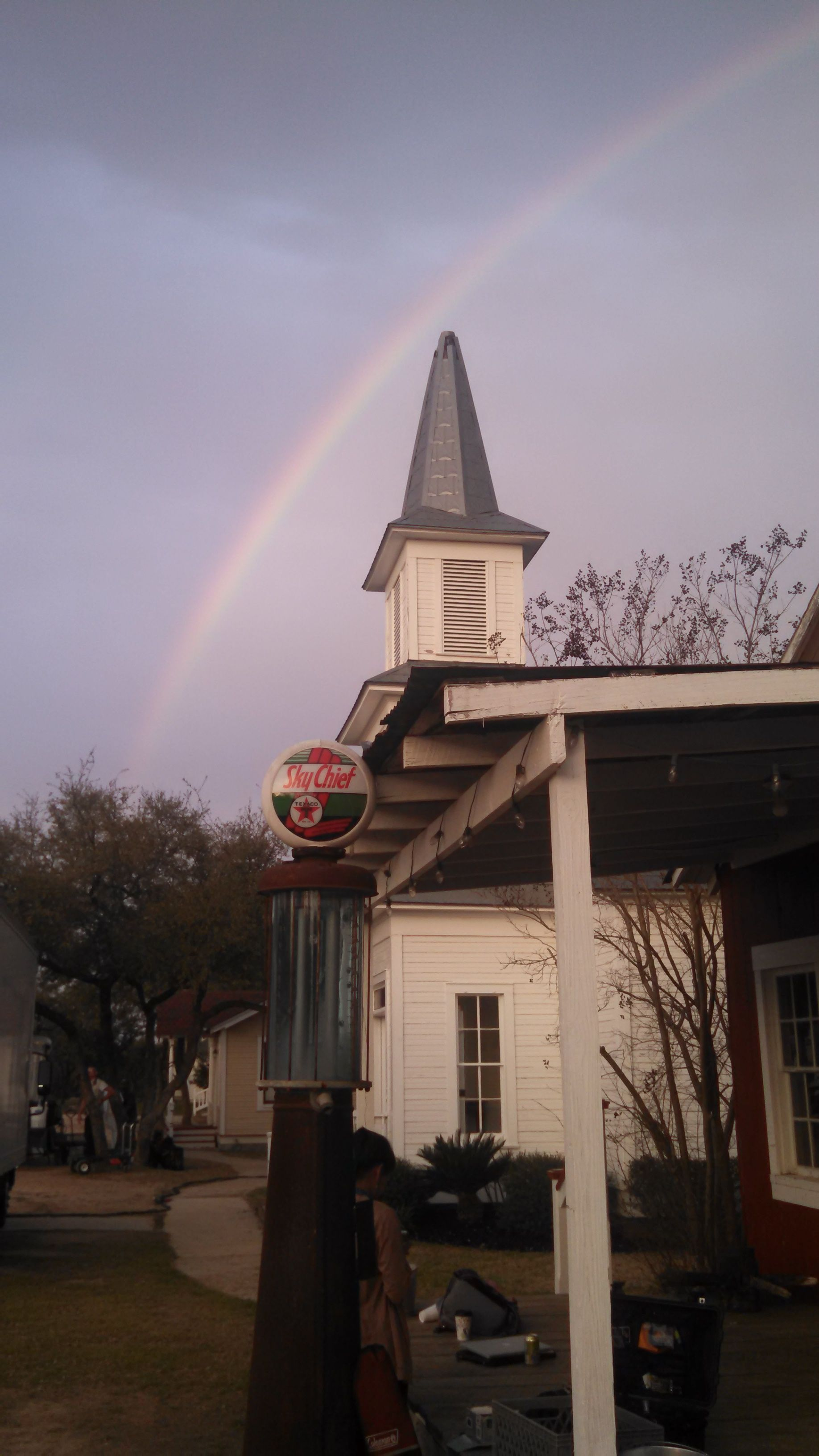 Beautiful rainbow over the Groom's Joint and Pontotoc Chapel. St. Patrick's Day 2015. #StarHillRanch