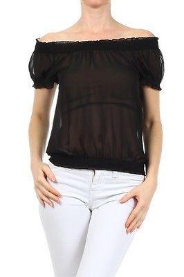 cb8c6d00393 Sexy Chiffon Sheer Shirred Neck Cuff   Hem Smocked Cropped Shirt Tube Top  Blouse