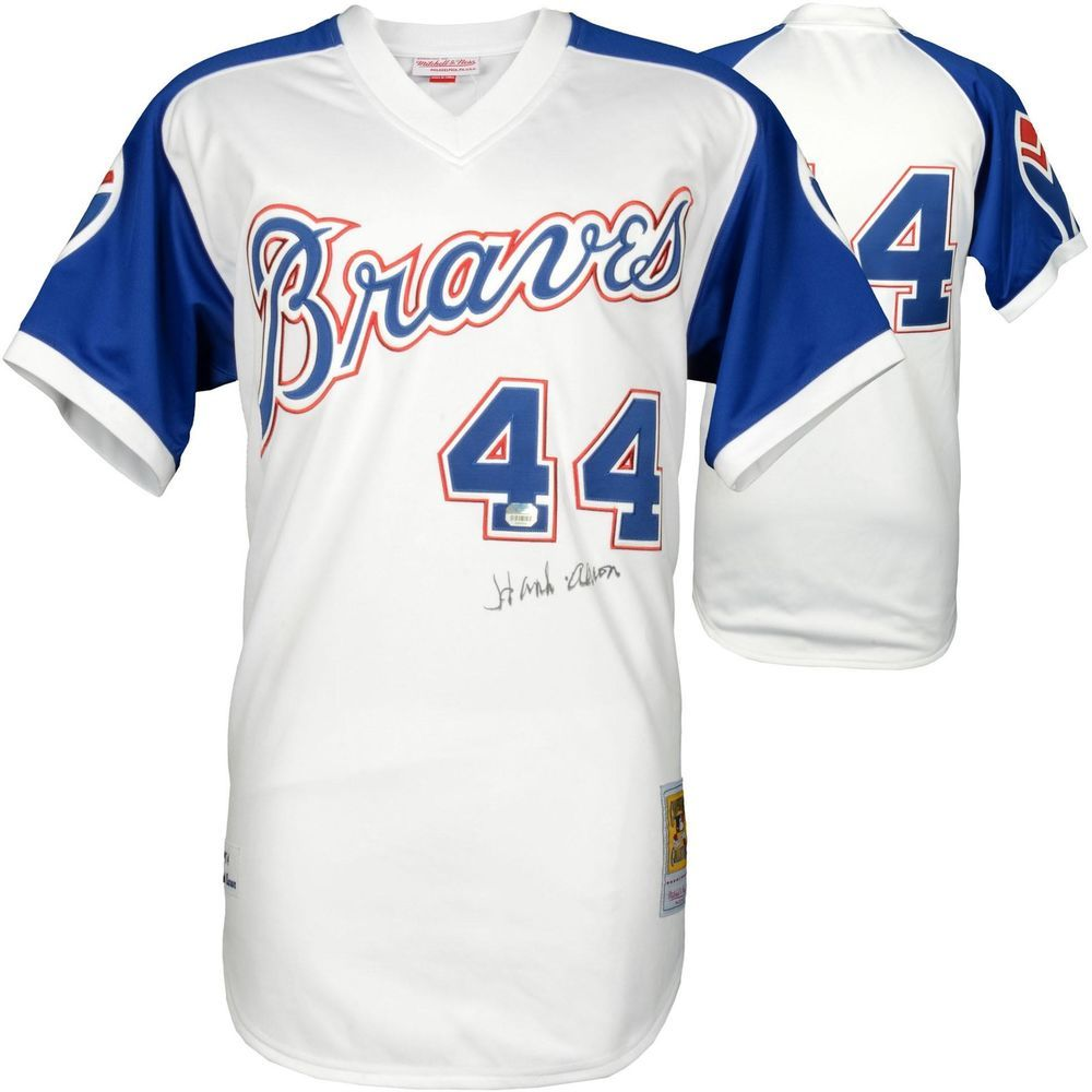 Hank Aaron Braves Signed Mitchell Ness Authentic Jersey Fanatics Authentic Baseball Atlanta Braves Hank Aaron Atlanta Braves Jersey