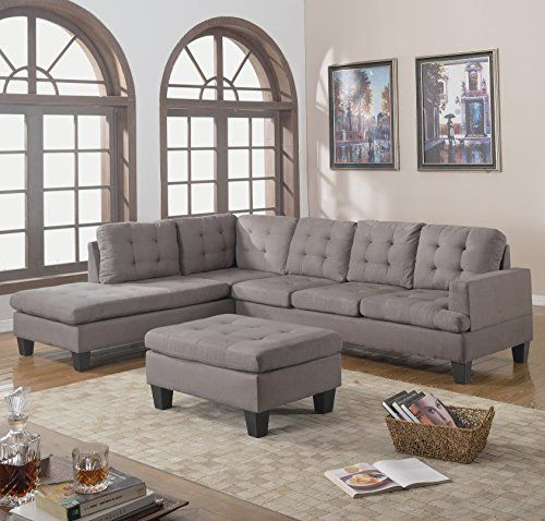 Divano Roma Furniture 3piece Reversible Chaise Sectional Sofa With Ottoman Grey Charcoal Fi Modern Sofa Sectional Sectional Sofa Sectional Sofas Living Room