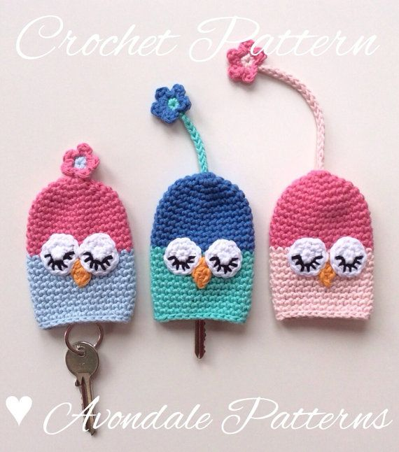 Crochet Pattern Owl Key Cosy keycover cozy uk by avondalepatterns ...